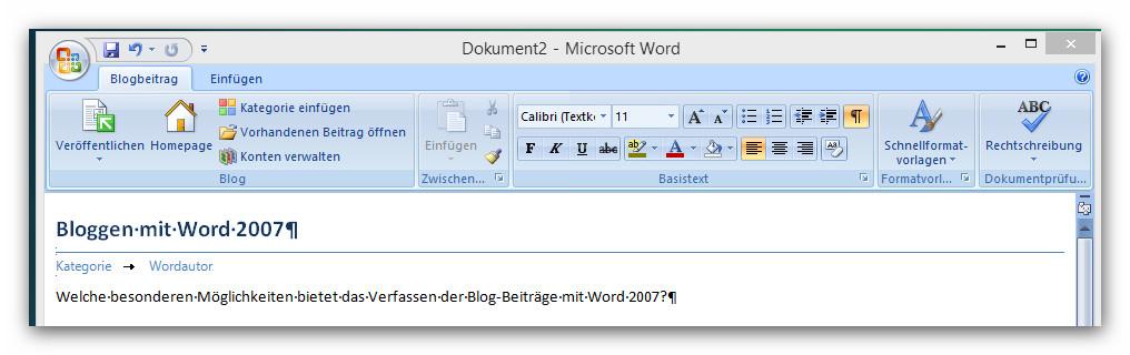 Die Bilder zeigen die Formatierungsmöglichkeiten beim Editieren von Artikeln mit Word 2007.